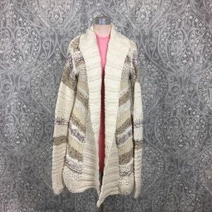 NWOT Handknit by Dollie Chunky Knit Long Cardigan